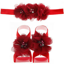 1set/3Pcs Baby Girls Infant Headband Foot Flower Elastic Hair Band Accessories