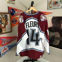 RARE Vintage Colorado Avalanche Theo Fleury Starter NHL Hockey Jersey 2XL #14