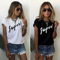 UK New Women Ladies Summer White Black Short Sleeve SUPER Print Cotton T-Shirt