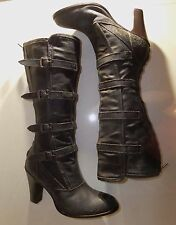 DESIGNER Belstaff DISTRESSED KNEE HIGH HEEL CANVAS & LEATHER WINTER BOOTS  4