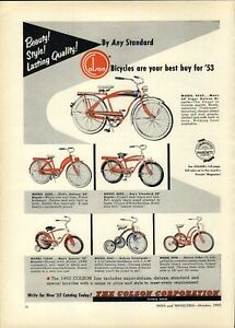 1953 PAPER AD Colson Elyria Ohio Bicycle Super Deluxe