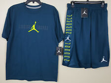 NIKE JORDAN XI RETRO 11 NIGHTSHADE OUTFIT SHIRT + SHORTS GREEN NEW (SIZE MEDIUM)