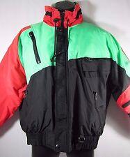 VTG 80s 90s Neon Mens MED Full Zip Ski Party Jacket Down Fill Coat Parka