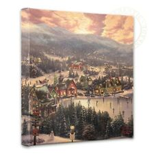 "Thomas Kinkade - Sunset on Snowflake Lake  – 14"" x 14"" Gallery Wrapped Canvas"