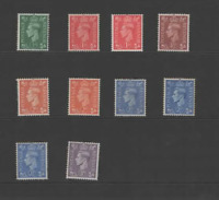 GB 1941-42  KGVI SET OF 10 (SG 485-490-INCLUDING WATERMARK CHANGES)  MINT CV£40
