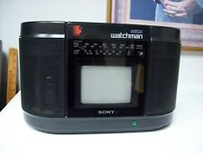 Sony Watchman MEGA B&W TV FM AM Receiver Stereo Cassette Player Model No. FD-555