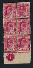 Ceylon. 6 c. carmine. MNH block of 6 with margin