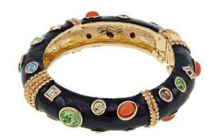 """KJL by Kenneth Jay Lane """"Firenze"""" Cabochon Bangle Bracelet size S-M Stunning!"""