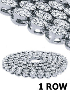 """Men's New Silver Finish White Diamond Simulate Flower HipHop Chain Necklace 30"""""""