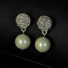 Pendientes pendientes Perla Blanco Cristal Retro antiguo Estilo Noche DD 4