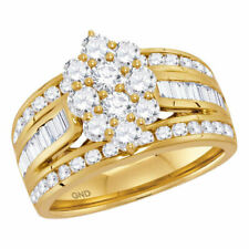 Right Hand Cluster Ring 2 Cttw 14kt Yellow Gold Womens Round Diamond