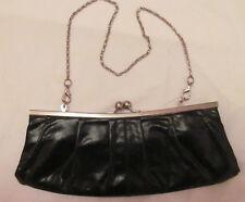 HOBO INTERNATIONAL textured leather kisslock metal chain  evening clutch bag