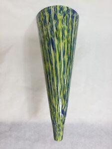 """Huge Murano Bavai Conicity Art Glass Green & Blue Pendant Light Shade, 23 3/4"""" T"""