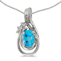 "10k White Gold Oval Blue Topaz And Diamond Teardrop Pendant with 18"" Chain"