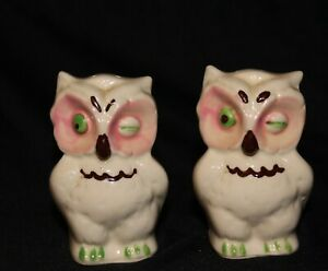 Shawnee Winking Owl Green Eyes and Salt and Pepper set.
