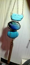 Artisan Copper Wrapped Runway Tassle Turquoise & Turquoise Sea Glass Necklace