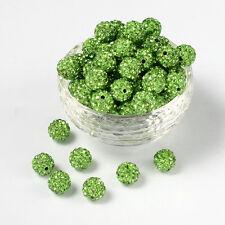 12 unidades pedrería perlas beads perlas Shamballa manzana verde 10 mm (1226)