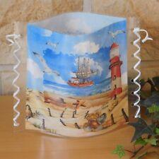 Tischlicht/Windlicht  - Schiff auf See - Möwen - Leuchtturm - Strand - Maritim
