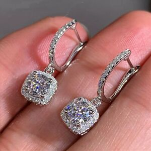 925 Silver Plated Square Drop Dangle Crystal Earrings Elegant Cubic Zirconia