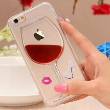 Fun 3D Dynamic Clear Wine Glass Shoe Lipstick Back Case Cover for iPhone SE 5 5S