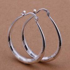 925  Sterling Silver PlatedCreole Patterned Oval Hoop Earrings 40mm + Bag
