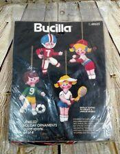 Bucilla Felt Ornament Kit Jeweled Sports Tennis Football Softball Soccer Kids