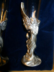 Vintage Seagull Pewter Champagne Flute Angles Wedding Toasting Glasses orig. Box