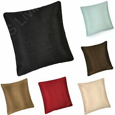 "Plain Faux Silk Satin Shine Scatter Filled Square Cushion / Covers 17"" x 17"""