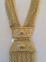 STUNNING VINTAGE ESTATE DESIGNER RUNWAY HIGH END STATEMENT GOLD TONE NECKLACE!!!