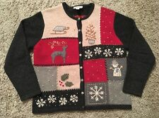 Women's Talbots Petite Wool Blend Winter Theme Cardigan Sweater, Size M
