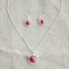 Red Rose Real Flower Glass Ball Pendant Silver Jewelry Sets Necklace Earrings