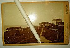 Altes Pappfoto BÜSUM Nordsee vor 1900 Strand H. Burmeister´s Strand-Hotel AK SH