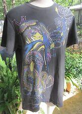 Marc Ecko Cut & Sew Gray Woman, Rose & Snake 100% Cotton T Shirt - Size Medium