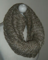 Oatmeal Brown 70% Wool Mix Knitted Infinity Short Scarf Double Layer Cowl Warmer
