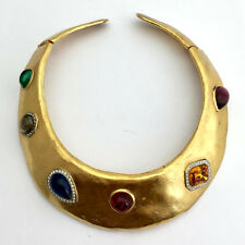 Vintage Les Bernard Heavy Gold Collar Necklace with Colorful Stones, Signed