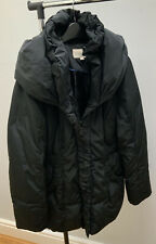 Stunning MONSOON Black Padded Feather Down Coat Size 14 Hood Fast And Free P&P