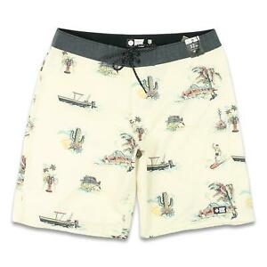 Salty Crew Mens Pescador Boardshorts Vintage White 32 New