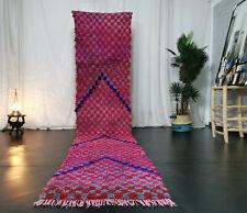 Handmade Moroccan Boujaad Vintage Runner 2'6x12'5 Red Checkered Berber Wool Rug
