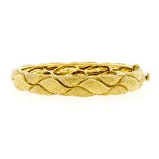 Judith Ripka 18K Yellow Gold Unique Textured Puffed Braided Open Bangle Bracelet