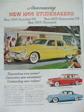 1955 CAR ADVERT STUDEBAKERS PRESIDENT COMMANDER V8s CHAMPION REGAL STARLINER