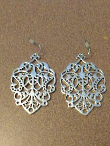 Premier Designs silver filigree style dangle earrings, beautiful
