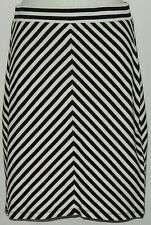 Monteau Women's Skirt Sz Med Black & Ivory Diagonal Stripes #