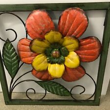 "Colorful Home Decor Wall Hanging Art Metal Framed Flower 14 x 14"" Square Must C!"
