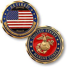 """U.S. Marine Corps Retired / Flag """"Semper Fidelis"""" - USMC Brass Challenge Coin"""