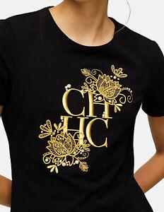 Camiseta Playera CH Carolina Herrera Negra CH Bordado Dorado Talla XS Nueva