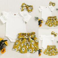 ❤️Newborn Baby Girls Floral Clothes Romper Tops+Skirt Dress+Headband Outfits Set