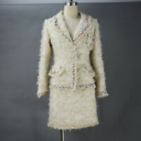 Womens Designer Inspired Pearl Pockets WOOL Golden Tweed Suit  *Customized Size*