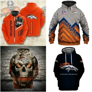 Denver Broncos Hoodie Football Hooded Sweatshirt Pullover Fans Casual Jacket New