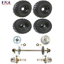 Go Kart Rear Axle Kit + 4 Set 4.10-6 Front & Rear Tubless Tire Rims Atv Buggy