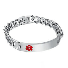 Stainless Steel Chain Medical Alert Bracelet Bangle Wristband Unisex Jewelry